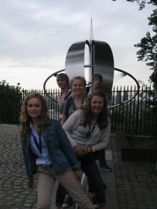 Pupils from Sheldon School standing on the Meridian Line, Greenwich