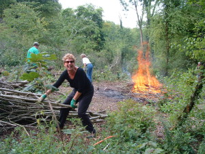 Volunteers clearing scrub from Devenish WWT 2002